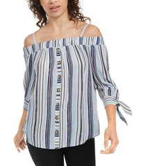 bcx juniors' striped tie-cuff off-the-shoulder top