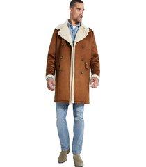 abrigo ls braydon faux shearling coat café guess