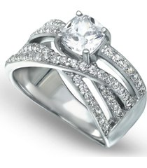 cubic zirconia intertwined band with cushion prong center ring in fine silver plate