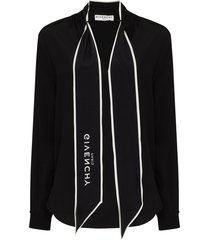 givenchy logo scarf blouse - black