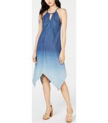 inc handkerchief-hem ombre denim dress, created for macy's