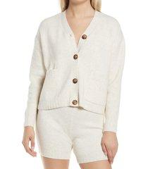 women's topshop button front cardigan, size large - beige