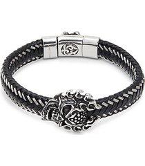 stainless steel & leather braided skull pendant clasp bracelet