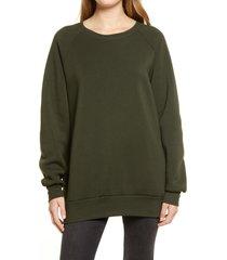 women's treasure & bond crewneck tunic sweatshirt, size small - green