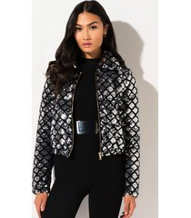 akira light it up sequin puffer jacket