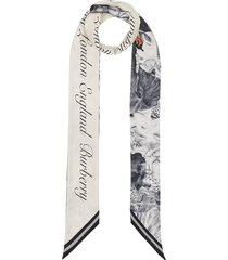 burberry animalia logo print scarf - grey