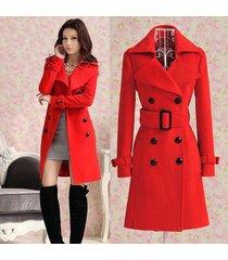 women's trench cashmere slim winter warm coat long wool jacket outwear
