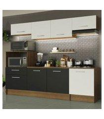 cozinha completa madesa onix 240003 com armario e balcão rustic/branco/preto 5z73 rustic/branco/preto