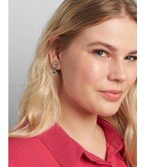 lane bryant women's champagne stud earrings onesz silver tone