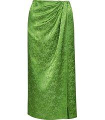andamane gabrielle floral jacquard satin midi wrap skirt