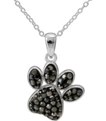 "giani bernini crystal paw print 18"" pendant necklace in sterling silver, created for macy's"