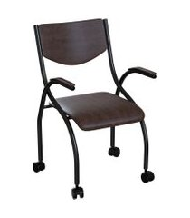 cadeira de escritório secretária colorado estofada preta e tabaco