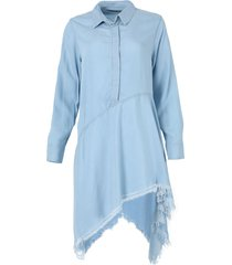 light blue wash asymmetric shirt dress