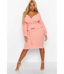 plus off the shoulder wrap peplum dress, coral blush