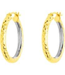 orecchini a cerchio bicolore diamantati in oro giallo e bianco per donna