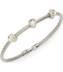 classique white topaz, 18k yellow gold & stainless steel bangle bracelet