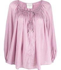 forte forte shirred trim blouse - pink
