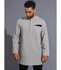 camisa de bolsillo frontal con botones lisos de otoño invierno para hombre