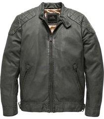 vanguard short jacket gunmetal leren jassen grijs