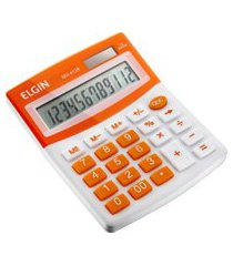 calculadora de mesa elgin mv4128 visor lcd 12 dígitos laranja