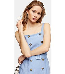 blue linen blend belted midi pinafore dress - chambray