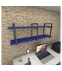 prateleira industrial para escritório aço preto mdf 30 cm azul escuro modelo ind05azes