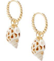 kendra scott 14k gold-plated shell & imitation pearl charm huggie hoop earrings