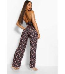 floral print strappy wide leg jumpsuit, black