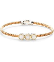 alor women's 18k tri-tone gold, stainless steel & rose quartz bracelet