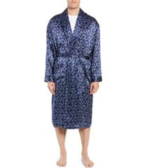 men's majestic international sapphire silk robe, size large/x-large - blue