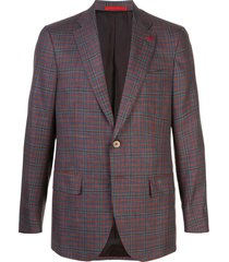 isaia capri sports checked single-breasted blazer - red