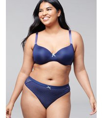 lane bryant women's no-show thong panty with lace 14/16 navy eclipse stripe