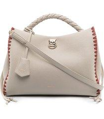 mulberry iris braided-edge tote bag - neutrals