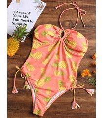 pineapple halter high leg one-piece swimsuit