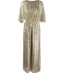 pinko flared sleeve sequin jumpsuit - gold