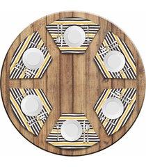 jogo americano   para mesa redonda wevans strip kit com 6 pã§s  love decor - multicolorido - dafiti