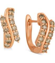 le vian champagne nude diamond swirl drop earrings (7/8 ct. t.w.) in 14k rose gold