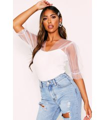 knitted top with mesh puff sleeves, white