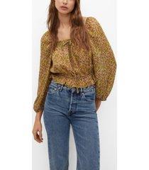 mango printed off-shoulder blouse