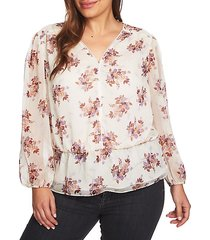plus wildflower peplum blouse