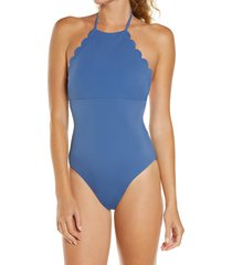 women's chelsea28 high neck scalloped one-piece swimsuit, size medium - blue