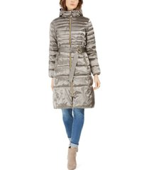 cole haan high-shine belted hooded puffer coat