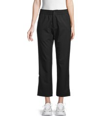 y-3 women's cropped wool-blend track pants - black - size m
