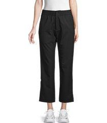y-3 women's cropped wool-blend track pants - black - size m