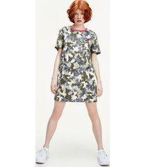 tommy hilfiger women's organic cotton camo t-shirt dress camo print / olive tree - xxs