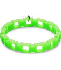fluorescent rubber & rodium-plated pendant bracelet