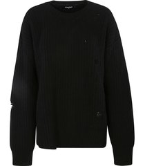 dsquared2 distressed plain knit sweater