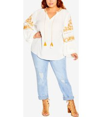 plus size spirit embroidered top