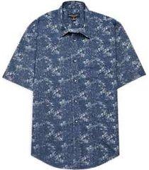 pronto uomo dark blue mottled short sleeve sport shirt