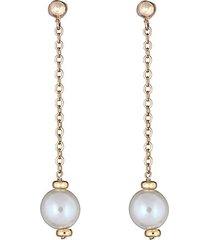 14k yellow gold & 8mm cultured pearl drop earrings